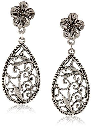 1928 Jewelry Silver Scrolls Floral Teardrop Earrings