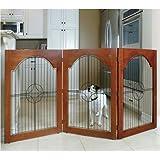 Majestic Pet Universal Free Standing Wire Insert Pet Gate, Cherry Stain