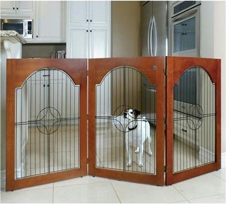 Majestic Pet Universal Free Standing Wire Insert Pet Gate, Cherry Stain