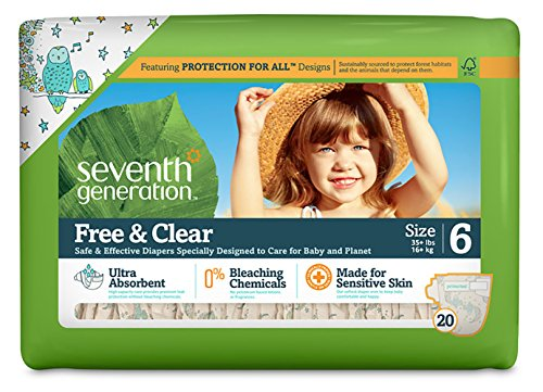 Seventh Generation Free And Clear Sensitive Skin Baby Diapers With Animal Prints, Size 6, 20 Count (Pack Of 4)
