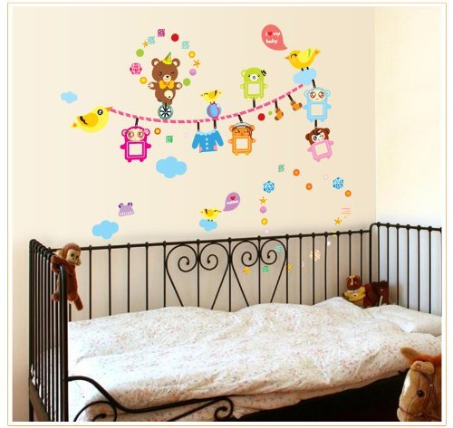 Good Life Clothesline With Birds Bears And Clothes Diy Wall Decal For Nursery Wall Decor front-415491