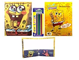 Spongebob Squarepants Holographic Folders with Pencils Set