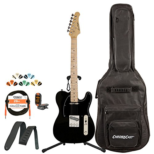 Sawtooth St-Et50-Bkb-Kit-1 Classic Et 50 Ash Body Electric Guitar - Black With Black Pickguard, Gig Bag, Cable, Picks, Strap, Tuner And Stand