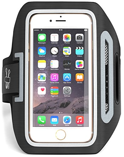 ONE DAY SALE! iPhone 6 ,6S,5S,5,5C- SPORTS ARMBAND-GREAT for RUNNING,Workouts or any Fitness Activity , Sweat Proof - Build in Key + Id + Credit Cards - Black-For Men & Women by DanForce (One Day Sale On Electronic compare prices)