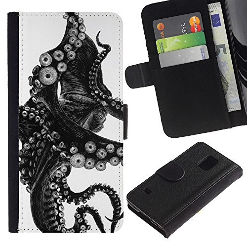 APlus Cases // Samsung Galaxy S5 V SM-G900 // Octopus Black White Photo Tentacle Monster // Slim PU Leather Wallet Credit Card Case Cover Shell Armor