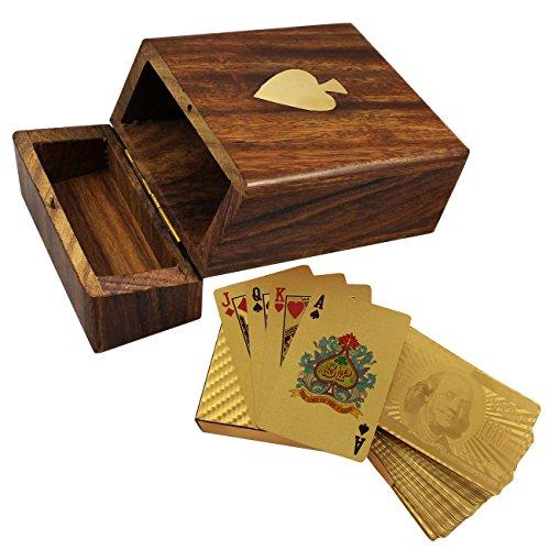 Legno contenitore di supporto di carte da gioco - mazzo di dollaro in oro placcato carte da gioco - regali di festa - 3.81 x 11.18 x 8.64 cm