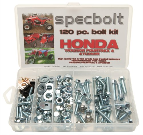 120pc Specbolt Honda TRX250R Fourtrax & ATC250R Bolt Kit for Maintenance & Restoration OEM Spec Fasteners fits quad and three wheelers TRX ATC 250R (250r Three Wheeler Fenders compare prices)