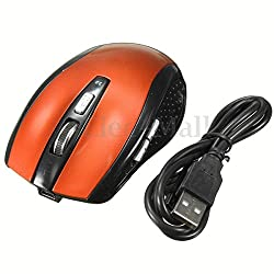 3.0 Bluetooth Rechargeable Wireless Optical Mouse 1200DPI for Laptop Macbook 1 PC (Orange)