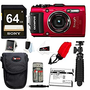 Olympus Stylus TOUGH TG-4 Digital Camera (Red) w/ 64GB Accessory Bundle
