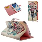 Note 2 Case, Galaxy Note 2 Case - YOKIRIN Fashion Style Colorful Painted Feather Pattern Pink Wallet Style Credit Card Holder Case Magnetic Design Flip Folio PU Leather Cover Standup Cover Case for Samsung Galaxy Note 2 N7100 I605 L900 I317 T889 T-Mobile Version