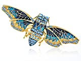 Indigo Blue Painted Enamel Crystal Rhinestone Moth Fashion Jewelry Pin Brooch thumbnail
