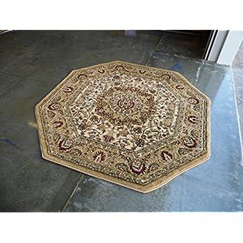 Traditional Octagon Area Rug Design Bellagio 401 Beige (7 Feet 3 Inch x 7 Feet 3 Inch)