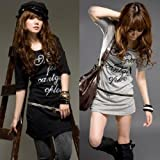 my closet 袖ロールアップ可 英字プリント ジップデザインチュニックワンピース ロングTシャツ