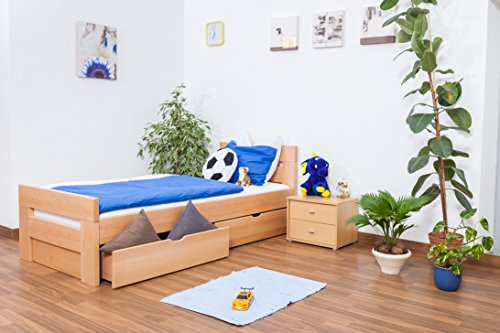 """Lit pour enfants / ados """"Easy Sleep"""" K2 avec 2tiroirs et 2panneaux de masquage, hêtre naturel massif"""