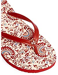 Tory Burch Flip Flops Shoes Sandals Flat Rubber (8, Acai Red Madura Allover)