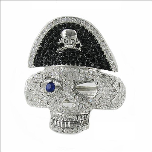 JOA Stone Skull W Pirate Hat Hinged Bracelet #040616
