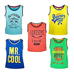 Antshrike Boys Printed Round Neck Cotton Sleeveless T-Shirt Pack of 5
