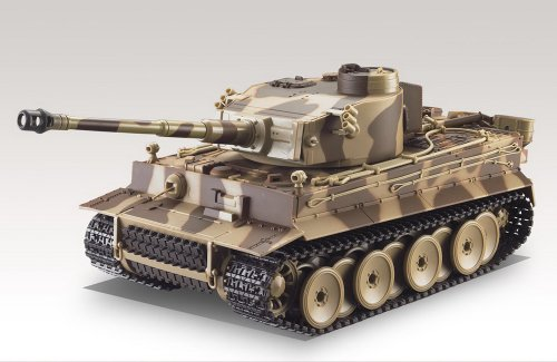 German Tiger I Battle Tank R/C 1:24 Airsoft Metal Cannon Model Heavy Panzer with Sound - Desert Camouflage