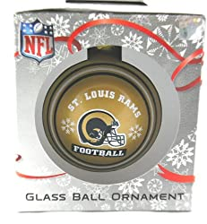 NFL St Louis Rams Gold or Blue Glass Ball Christmas Ornament