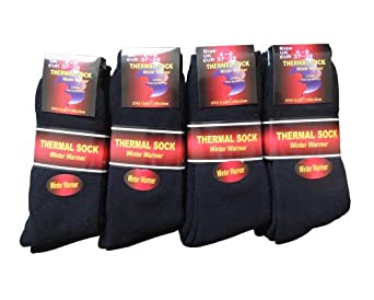 NEW 12 pairs Ladies/Girls thick Black Thermal socks UK size 4-6 EUR size 37-39