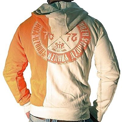 Yakuza Herren Sweatjacke Zip Hoodie HZB 527 beige orange