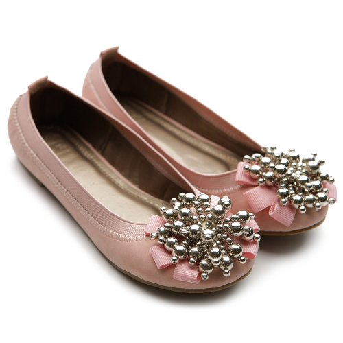 Ollio Womenu0026#39;s Ballet Flat Loafer Soft Cute Silver Beads Accent Pink Shoes | Ballerina Shoes
