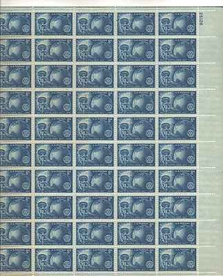 Torch, Globe and Rotary Emblem Sheet of 50 x 8 Cent US Postage Stamps NEW