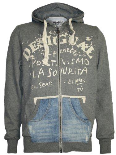 DESIGUAL Men Designer Hoodie Pullover - PACO -XXL