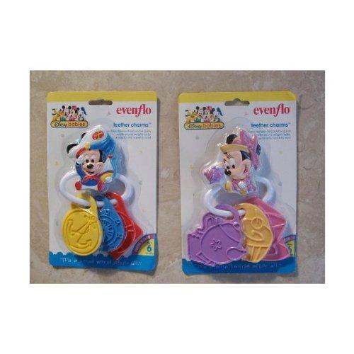 TWO Original Disney Mickey Minnie Baby Teether Charms