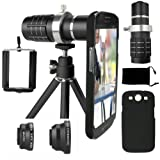 Samsung Galaxy S3 Camera Lens Kit including a 12x Telephoto Lens / Fisheye Lens / 2 in 1 Macro Lens and Wide Angle Lens / Mini Tripod / Universal Phone Holder / Telephoto Lens Holder Ring / Hard Case for S3 / Velvet Phone Bag / CamKix® Microfiber Cleaning Cloth - Awesome Accessories and Attachments for Your Galaxy S3 Camera(Black)