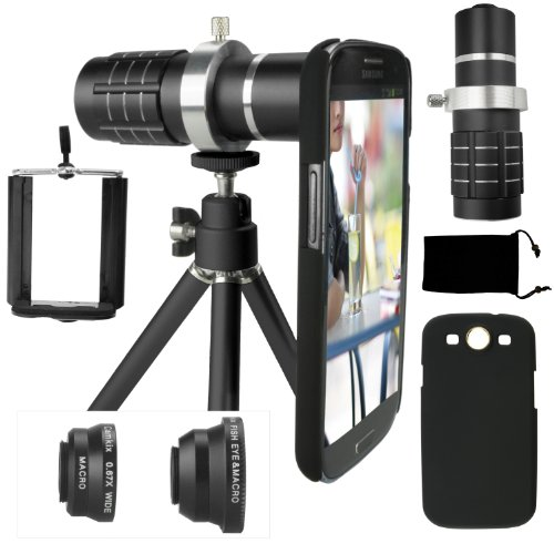 Samsung Galaxy S3 Camera Lens Kit Including A 12X Telephoto Lens / Fisheye Lens / 2 In 1 Macro Lens And Wide Angle Lens / Mini Tripod / Universal Phone Holder / Telephoto Lens Holder Ring / Hard Case For S3 / Velvet Phone Bag / Camkix® Microfiber Cleaning