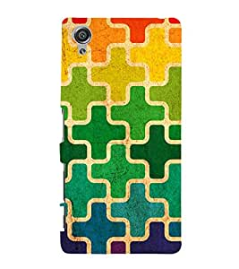 MULTICOLOURED CROSS PUZZLE PATTERN 3D Hard Polycarbonate Designer Back Case Cover for Sony Xperia X::Sony Xperia X Dual F5122 with dual-SIM card slots