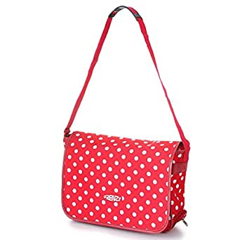 5Cities World's lightest (only 0.5kg!) Cabin Size holdall -fits Ryan Air/Easy Jet 55 x 40 x 20 -flight bag. Actual dimension 54x30x20, Massive 32l Capacity (Red Polka Dot DB)