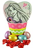 Disney Princess Easter Basket with Heart Shape Rapunzel Candy Box and Chocolates