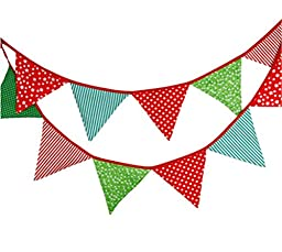 Affe Reusable Christmas Birthday Party Wedding Triangle Pennant Flag triangle Banner , Red