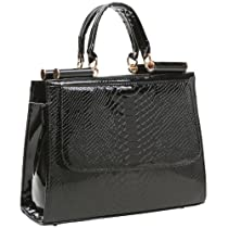 Hot Sale MG Collection EILIS Black High Gloss Crocodile Doctor Style Office Tote Satchel