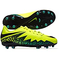 NIKE JR HYPERVENOM PHELON II FG FOOTBALL SHOES- VOLT/BLACK HYPER TURQ-CLR JADE