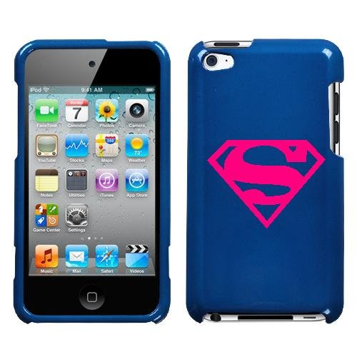 APPLE IPOD TOUCH ITOUCH 4TH SUPERMAN PINK SYMBOL ON A BLUE HARD CASE COVER