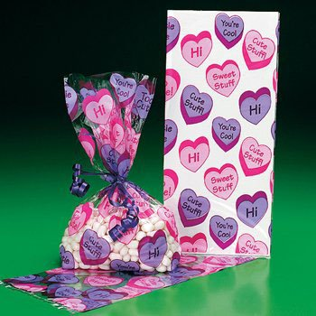 Conversation Heart Cello Goody Bags - (12 Count) VALENTINE'S DAY / Party Favor & Goody Bags & Cellophane Treat Bags