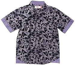 Oye Boys Half Sleeve Shirt With Invert Flap - Grey/Black (3-4Y)