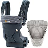 Ergobaby 4 Position 360 Carrier, Dusty Blue with Easy Snug Infant Insert, Grey