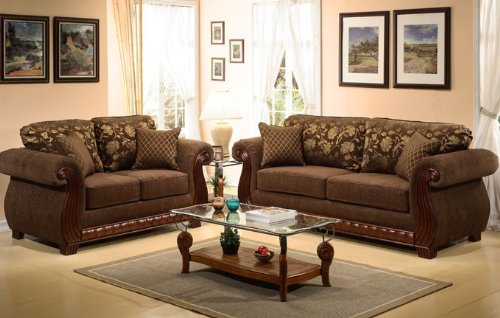 Buy Low Price Poundex 2pc Chenille Loveseat Sofa Set with Accent Pillows in Dark Brown Color (VF_F7933B)