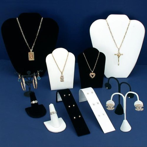 Black Velvet & White Jewelry Display 11 Pc Set