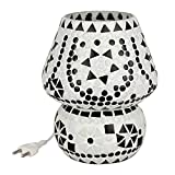 EarthenMetal Handcrafted White Coloured Crystal Dome Shaped Glass Table Lamp - (17cm Height)