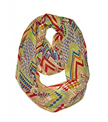 WishCart? Women's Infinity Scarf Loop Ring Light Weight Zig Zag Chevron Sheer Print,Size Bigger Then Others,Multi Color With 30 Different Colors-Skin Color