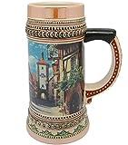 Ceramic Beer Stein Tankard German Rothenberg Village Scene (1 Liter)