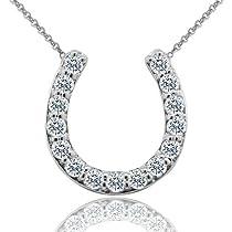 0.55CT Diamond 14K White Gold Lucky Horseshoe Pendant Necklace