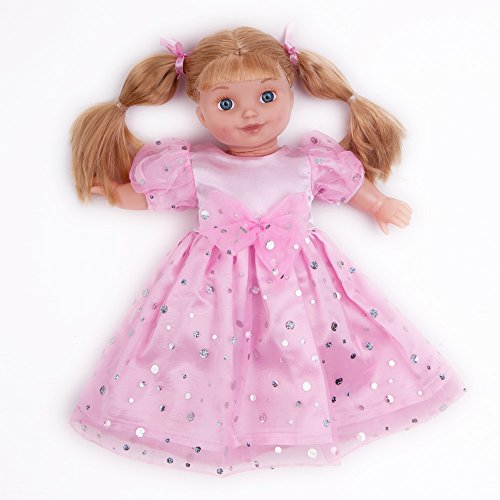 """Fashion Doll Puff Bubble Sleeve Dresses with Silver Sequins for 18"""" American Girl Doll Clothes and More(Pink)"""