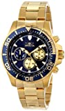 Invicta Men's 12918 Pro Diver Chronograph Dark Blue Textured Dial 18k Gold Ion-Plated Stainless Steel Watch