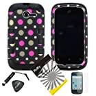 4 items Combo: ITUFFY(TM) LCD Screen Protector Film + Mini Stylus Pen + Case Opener + Black Pink Polka White Dots Design Rubberized Hard Plastic + Black Soft Rubber TPU Skin Dual Layer Tough Hybrid Case for Huawei Ascend Y M866/ H866 / H866C (Straight Talk / U.S.Cellular)